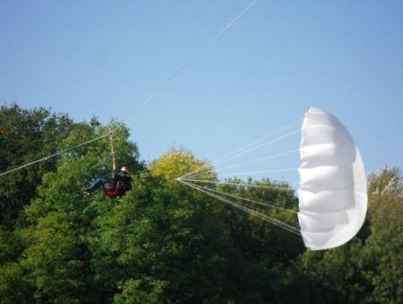 Lancer de parachute de secours sur tyrolienne